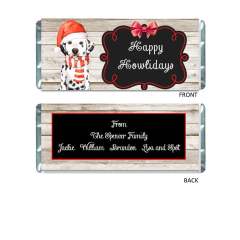 Christmas Dalmatian Candy Bar Wrapper Candy Bar Wrapper- Cathy's Creations - www.candywrappershop.com