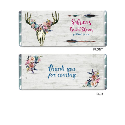 Rustic Boho Skull Candy Bar Wrapper - Cathy's Creations - www.candywrappershop.com