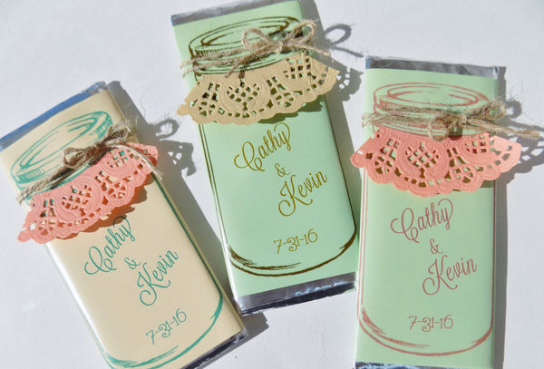 Mason Jar Candy bar with Lace Trim - Cathy's Creations - www.candywrappershop.com