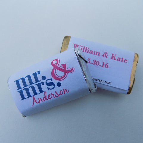 Mr. and Mrs. Mini Candy Wrappers Mini Candy Bar Wrapper- Cathy's Creations - www.candywrappershop.com