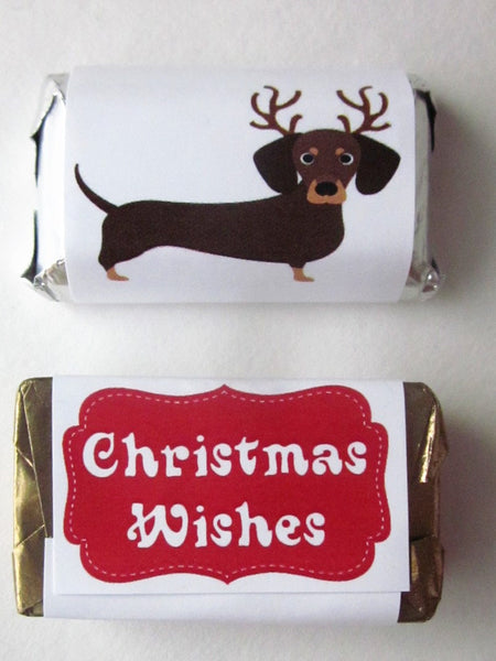 Christmas Dachshund Mini Candy Wrappers - Cathy's Creations - www.candywrappershop.com