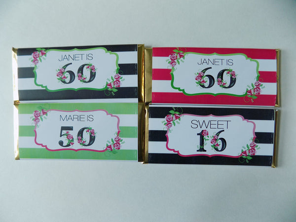 Floral Milestone Birthday Candy Bar - Cathy's Creations - www.candywrappershop.com