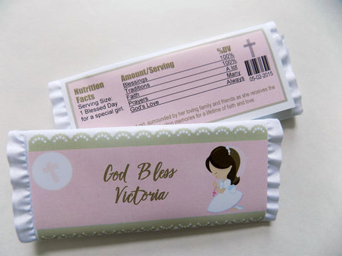 Communion Girl with Ruffles Candy Bar - Cathy's Creations - www.candywrappershop.com