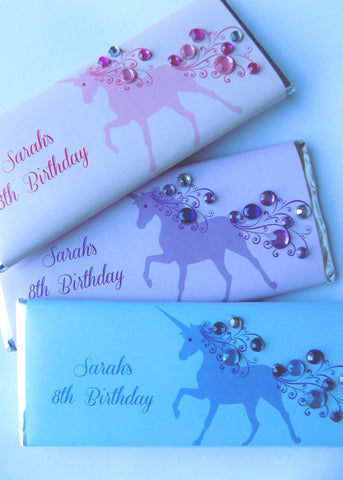 Unicorn Bling Candy Bar Wrappers Candy Bar Wrapper- Cathy's Creations - www.candywrappershop.com