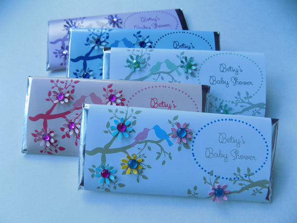 Floral Bird Candy Wrappers - Cathy's Creations - www.candywrappershop.com