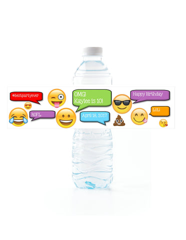 Emoji Party Water Bottle Labels Water Bottle Labels- Cathy's Creations - www.candywrappershop.com
