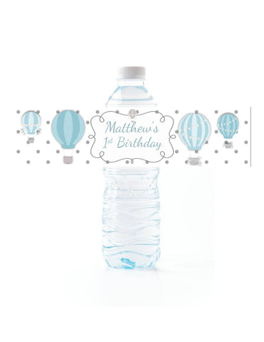 Hot Air Balloon Water Bottle Labels Water Bottle Labels- Cathy's Creations - www.candywrappershop.com