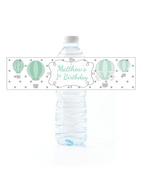 Hot Air Balloon Water Bottle Labels - Cathy's Creations - www.candywrappershop.com