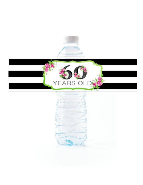 Floral Stripe Water Bottle Labels - Cathy's Creations - www.candywrappershop.com