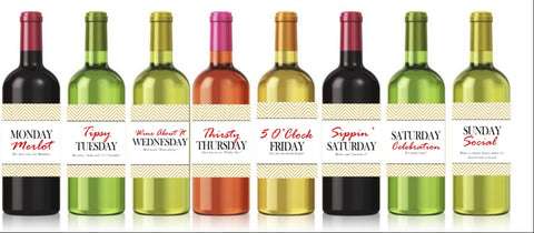 Days of the Week Wine Bottle Labels - Cathy's Creations - www.candywrappershop.com
