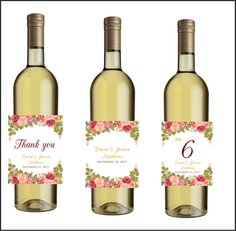 Fall Floral Wine Bottle Labels - Cathy's Creations - www.candywrappershop.com