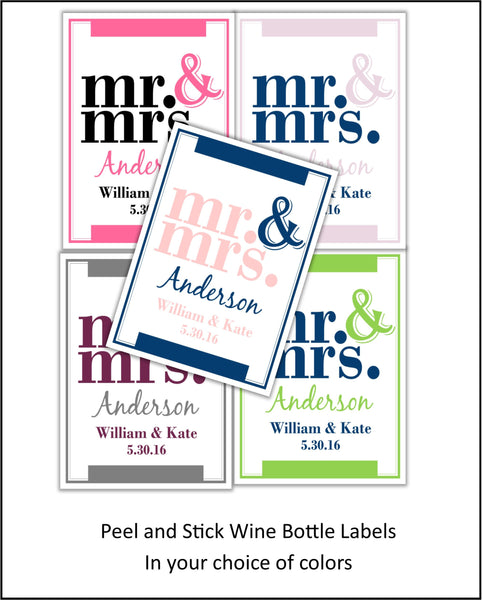 Mr. & Mrs. Wine Bottle Labels - Cathy's Creations - www.candywrappershop.com