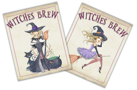 Halloween Witch Wine Bottle Labels Wine Labels- Cathy's Creations - www.candywrappershop.com