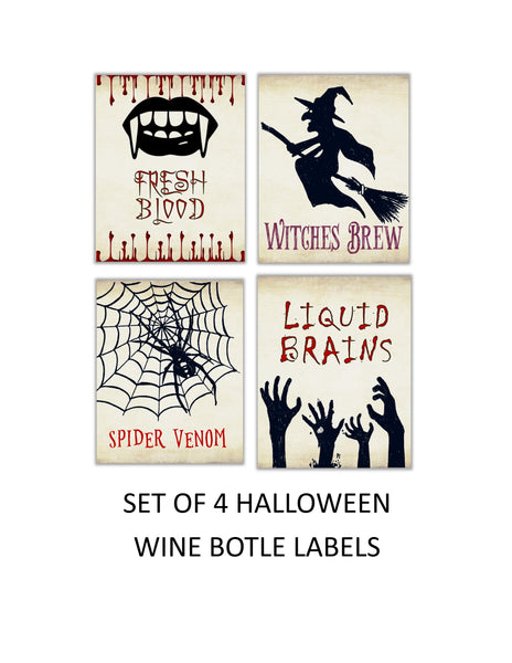 Halloween Wine Bottle Labels - Cathy's Creations - www.candywrappershop.com
