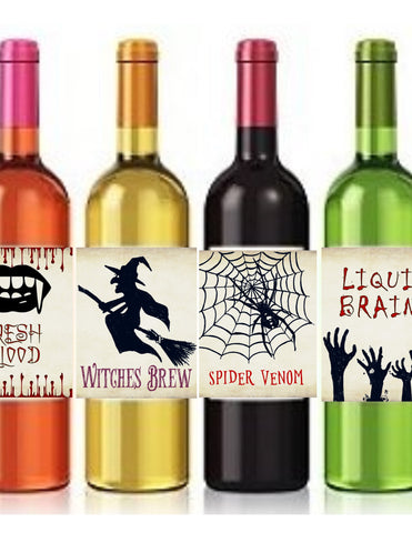 Halloween Wine Bottle Labels Wine Labels- Cathy's Creations - www.candywrappershop.com