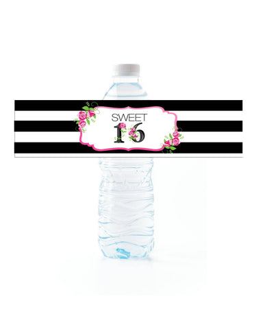 Floral Stripe Water Bottle Labels Water Bottle Labels- Cathy's Creations - www.candywrappershop.com