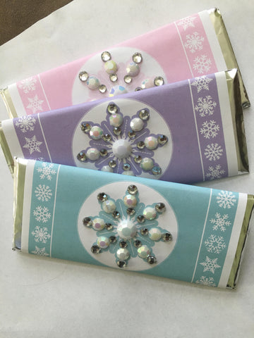 Snowflake Bling Candy Bar Wrapper Candy Bar Wrapper- Cathy's Creations - www.candywrappershop.com