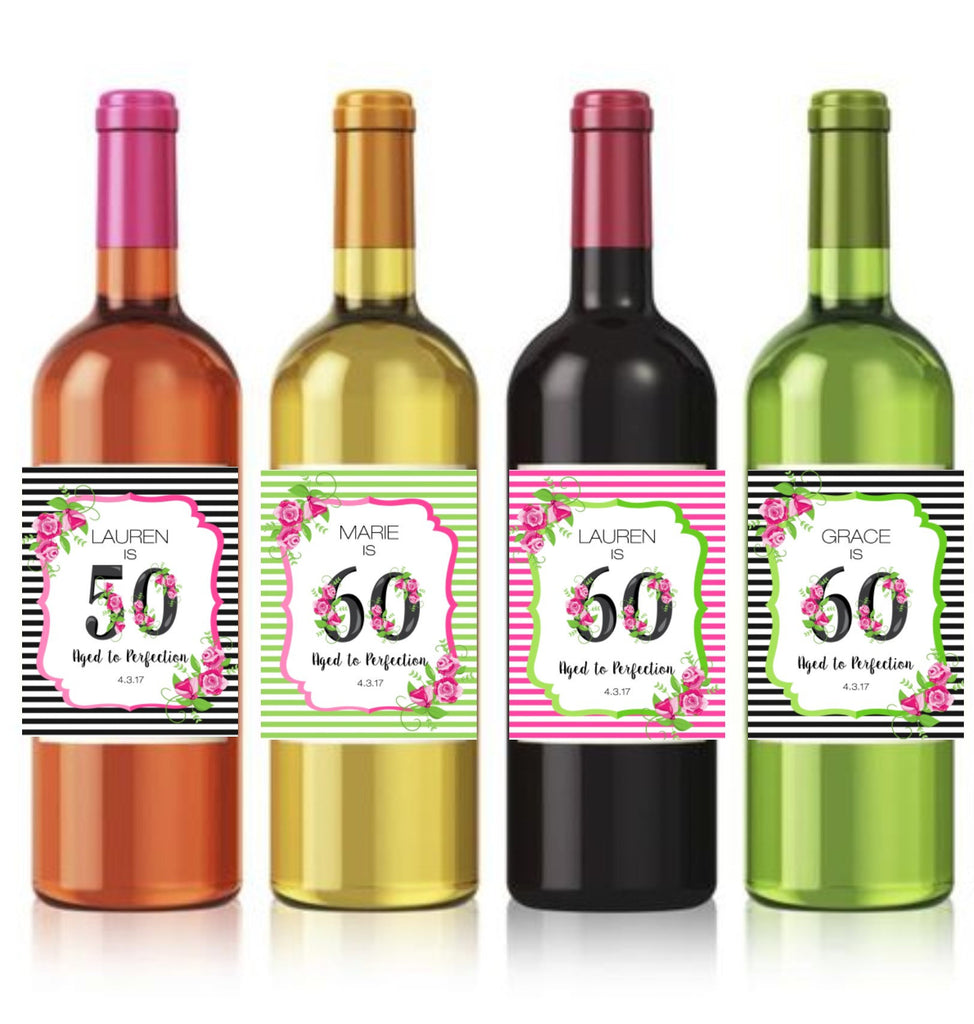Floral Milestone Birthday Wine Bottle Labels - Cathy's Creations - www.candywrappershop.com