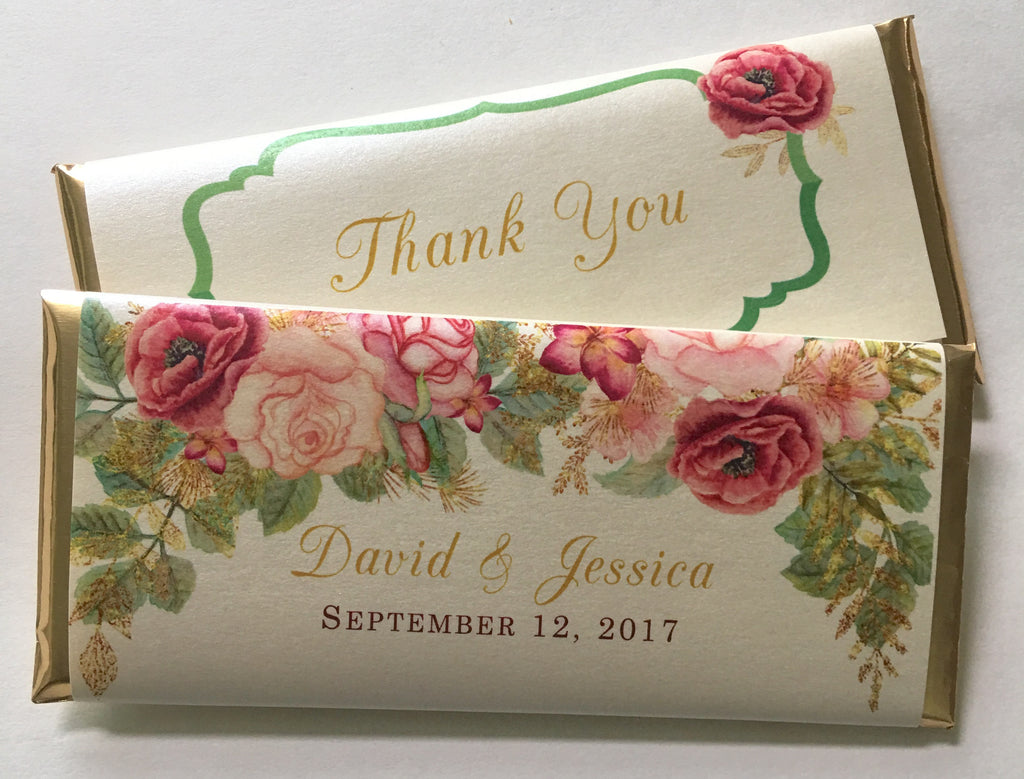 Fall Wedding Floral Candy Bar-Candy Bar Wrapper-Cathy's Creations - www.candywrappershop.com