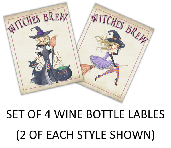 Halloween Witch Wine Bottle Labels - Cathy's Creations - www.candywrappershop.com
