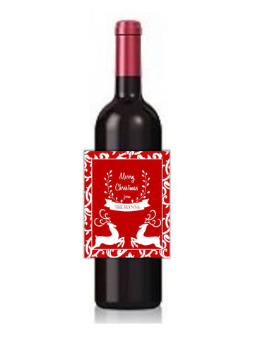 Reindeer Christmas Wine Bottle Labels-Wine Labels-Cathy's Creations - www.candywrappershop.com
