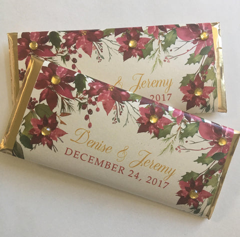 cathy-wraps - Christmas Poinsettia Shimmer Candy Wrapper - Candy Bar Wrapper