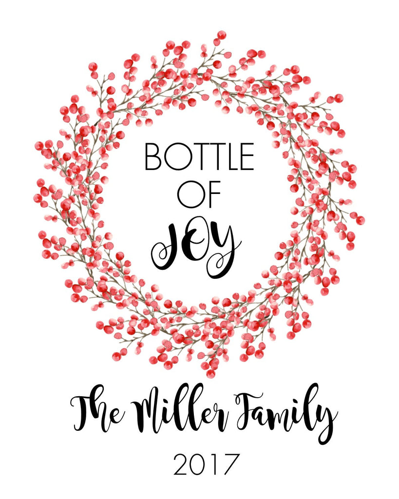 Christmas wreath Wine Bottle Labels-Sets of 4-Wine bottle favors ...