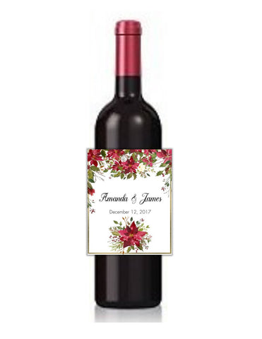 Winter Floral Poinsettia Wine Bottle Labels-Wine Labels-Cathy's Creations - www.candywrappershop.com