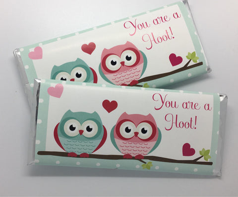 Owl Valentine's Day Candy Bar Wrapper - Cathy's Creations - www.candywrappershop.com