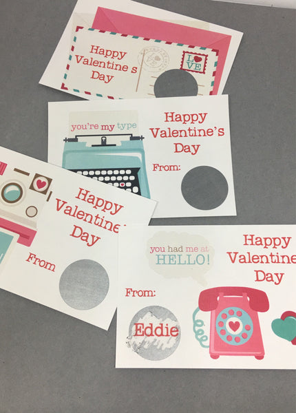 Retro Theme Valentine's Day Scratch Off Cards - Cathy's Creations - www.candywrappershop.com