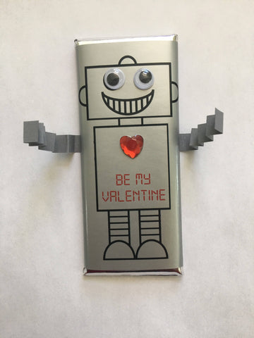 Robot Valentine's Day Candy Bar - Cathy's Creations - www.candywrappershop.com