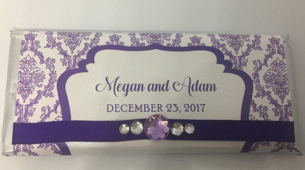 Elegant Damask Bling Candy Bar - Cathy's Creations - www.candywrappershop.com