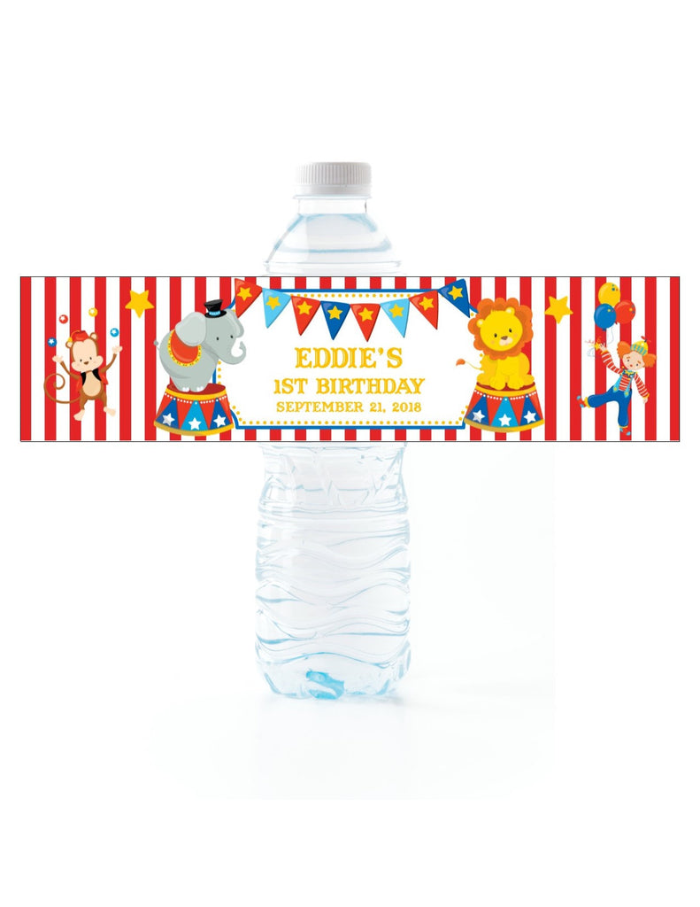 Circus Water Bottle Labels - Cathy's Creations - www.candywrappershop.com
