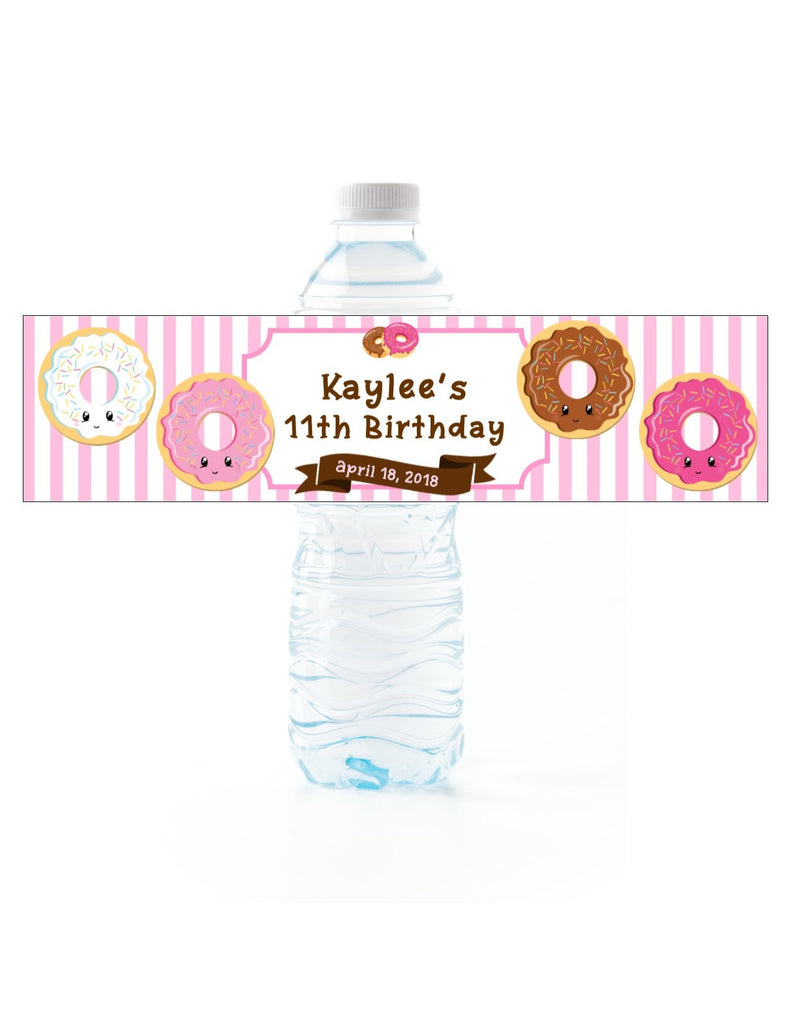 Donut Water Bottle Labels Pink - Cathy's Creations - www.candywrappershop.com