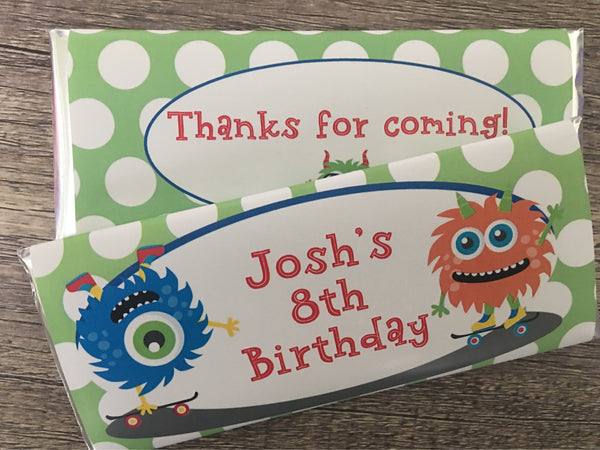 Skateboard Monster Candy Bar Wrapper - Cathy's Creations - www.candywrappershop.com