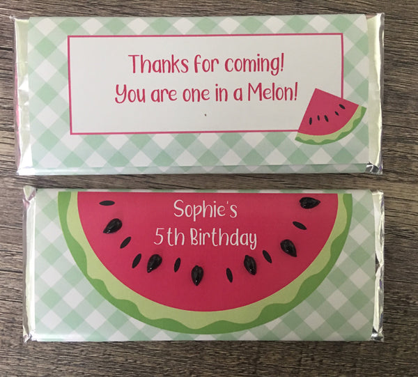 Watermelon Candy Bar with Embellishments-Candy Bar Wrapper-Cathy's Creations - www.candywrappershop.com
