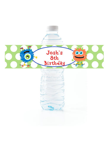 Skateboard Monster Water Bottle Labels Water Bottle Labels- Cathy's Creations - www.candywrappershop.com
