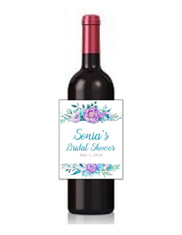 Purple Floral Wine Bottle Labels - Cathy's Creations - www.candywrappershop.com
