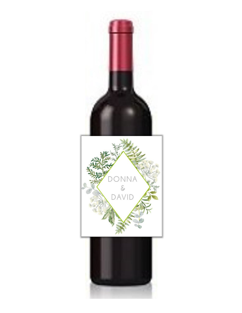 Botanical Greenery Wine Bottle Labels - Cathy's Creations - www.candywrappershop.com