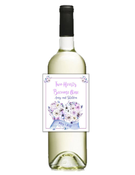 Floral Heart Wine Bottle Labels-Wine Labels-Cathy's Creations - www.candywrappershop.com