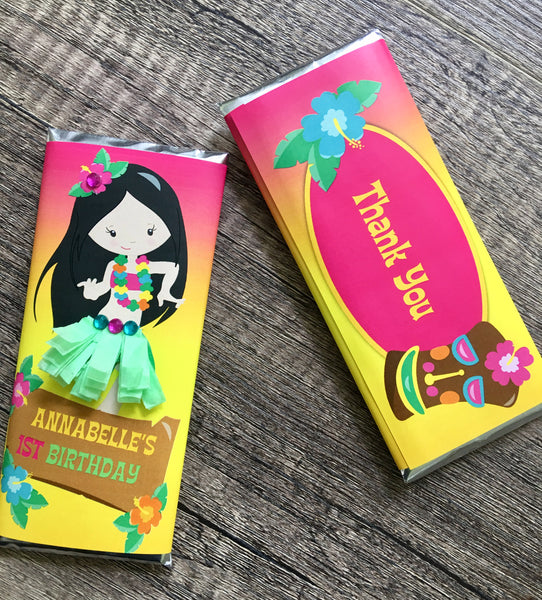 Hawaiian Hula Girl Candy Bar - Cathy's Creations - www.candywrappershop.com
