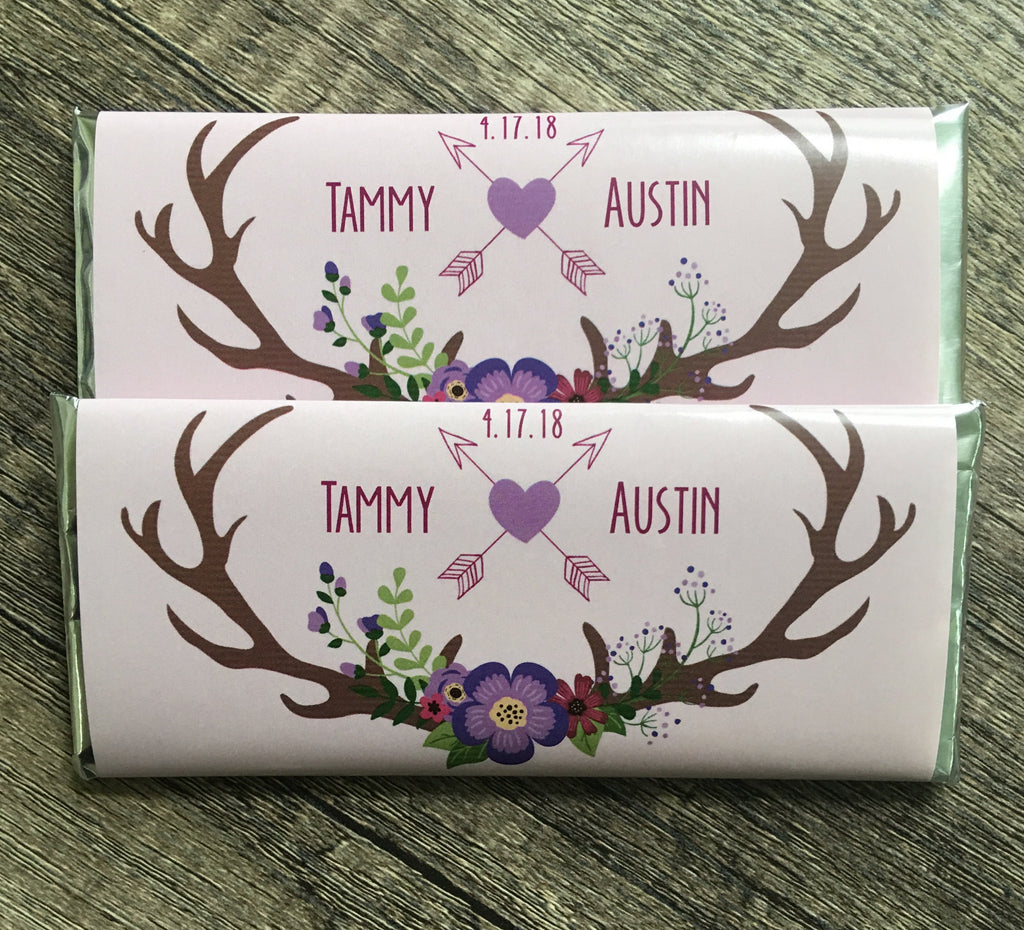 Rustic Purple Antlers Candy Bar Wrapper - Cathy's Creations - www.candywrappershop.com