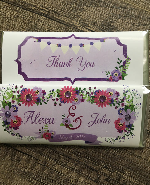 Purple Floral Bling Candy Bar-Candy Bar Wrapper-Cathy's Creations - www.candywrappershop.com
