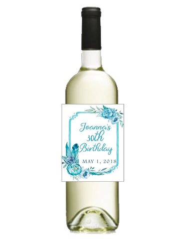Blue Floral Wine Bottle Labels - Cathy's Creations - www.candywrappershop.com