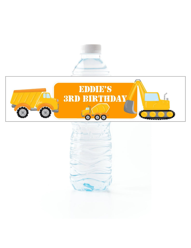 Construction Water Bottle Labels - Cathy's Creations - www.candywrappershop.com