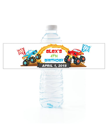 Monster Truck Water Bottle Labels Water Bottle Labels- Cathy's Creations - www.candywrappershop.com