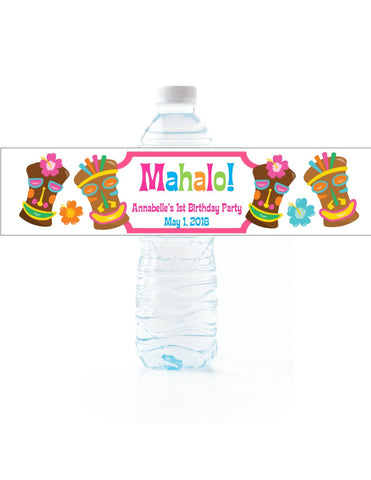 Tiki Statue Water Bottle Labels Water Bottle Labels- Cathy's Creations - www.candywrappershop.com