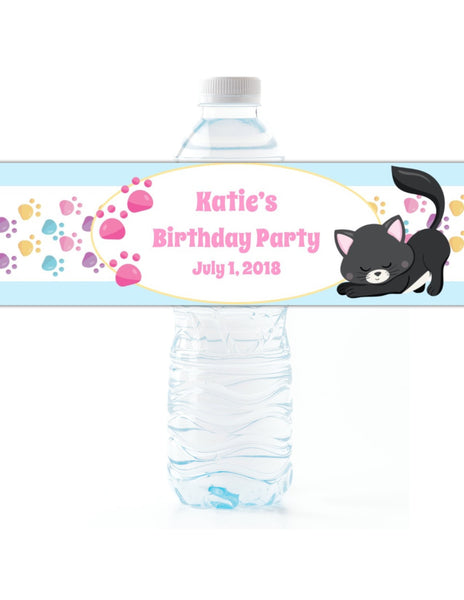 Kitten Water Bottle Labels - Cathy's Creations - www.candywrappershop.com