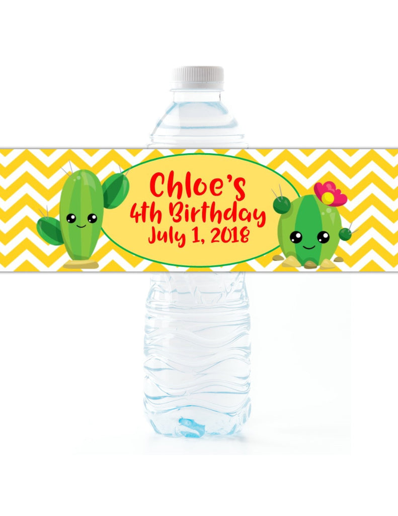 Cactus Party Water Bottle Labels - Cathy's Creations - www.candywrappershop.com