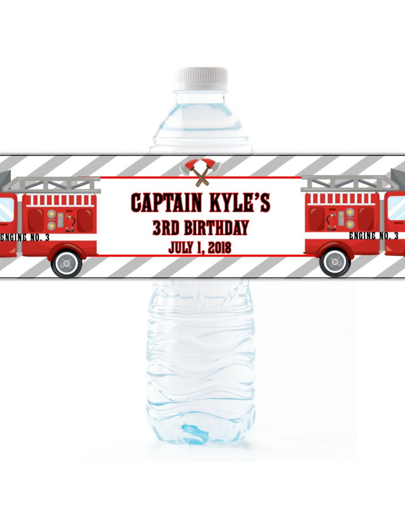 Firetruck Party Water Bottle Labels - Cathy's Creations - www.candywrappershop.com